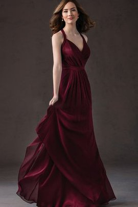 Pleated Keyhole Back Ruffles V-Neck Ruched Bridesmaid Dress