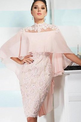 Beading Half Sleeves High Neck Satin Lace Fabric Evening Dress