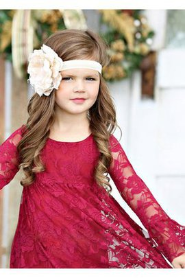 Ruffles Lace Fabric Bateau A-Line Long Sleeves Flower Girl Dress