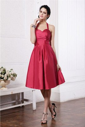 Pleated Knee Length Sleeveless Halter Bridesmaid Dress