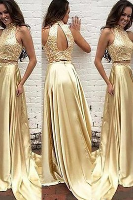 Natural Waist Beading Satin Princess 2 Piece Prom Dress