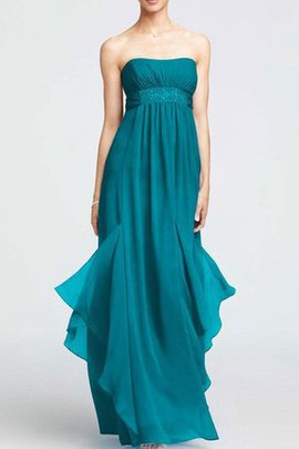 Chiffon Floor Length Sleeveless A-Line Strapless Bridesmaid Dress