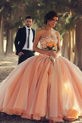 Natural Waist Ball Gown Strapless Tulle Floor Length Prom Dress
