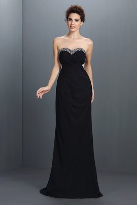 A-Line Beading Sweep Train Natural Waist Evening Dress