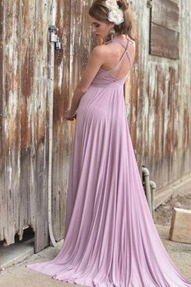 Pleated A-Line Romantic Simple V-Neck Bridesmaid Dress