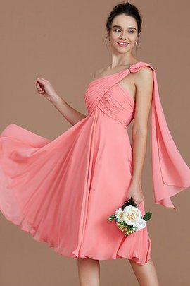 Ruched One Shoulder Chiffon Short Sleeveless Bridesmaid Dress