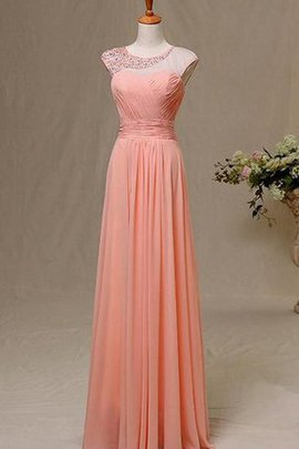Pleated Scoop Romantic Keyhole Back Short Sleeves Prom Dress