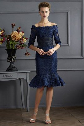 3/4 Length Sleeves Taffeta Off The Shoulder Zipper Up Knee Length Mother Of The Bride Dress