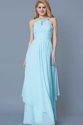Floor Length Sleeveless Jewel Chiffon A-Line Bridesmaid Dress