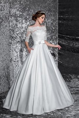 A-Line Pleated Half Sleeves Lace Fabric Wedding Dress