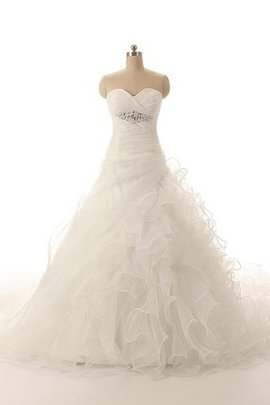 Ruched A-Line Ruffles Sweetheart Sleeveless Wedding Dress