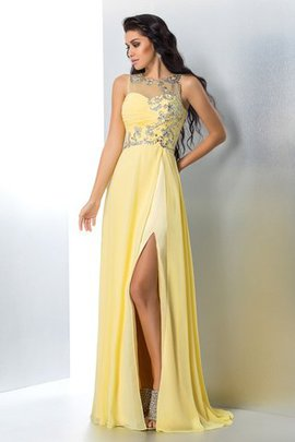 Natural Waist Sweep Train Beading Long A-Line Evening Dress
