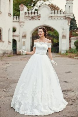 A-Line Natural Waist Appliques Off The Shoulder Floor Length Wedding Dress