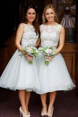 Organza Bateau Tea Length Scoop Lace Bridesmaid Dress