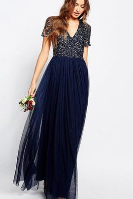 Sequined Beading V-Neck Sequins Chiffon Bridesmaid Dress
