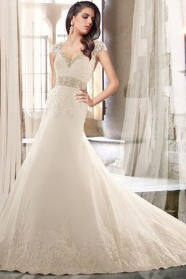 Backless Appliques Capped Sleeves Lace Fabric V-Neck Wedding Dress