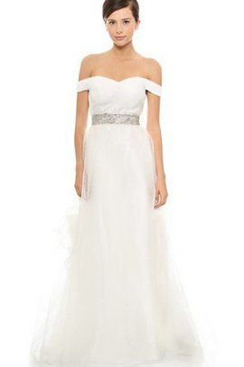 Organza Long Sleeveless Off The Shoulder Wedding Dress