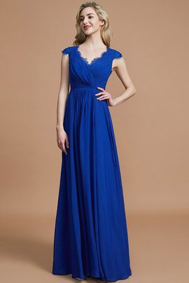 Natural Waist Ruched A-Line V-Neck Bridesmaid Dress