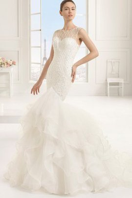 Outdoor Cascading Ruffle Long Sweep Train Wedding Dress