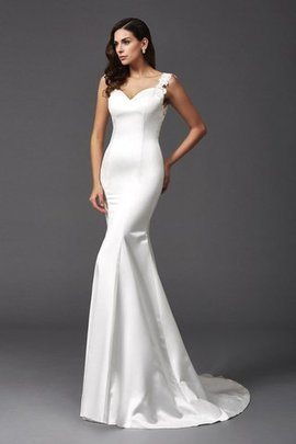 Mermaid Satin Wide Straps Sweep Train Natural Waist Wedding Dress