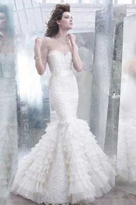 Sleeveless Organza Lace Fabric Sashes Sweetheart Wedding Dress