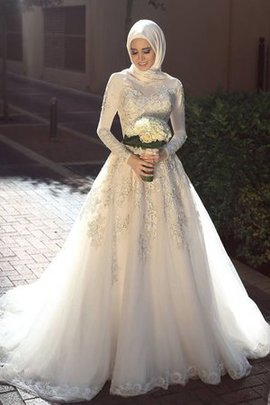 Fancy Chic & Modern Jewel Long Ball Gown Appliques Gorgeous Wedding Dress