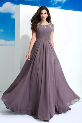 Chiffon Long Beading A-Line Natural Waist Evening Dress