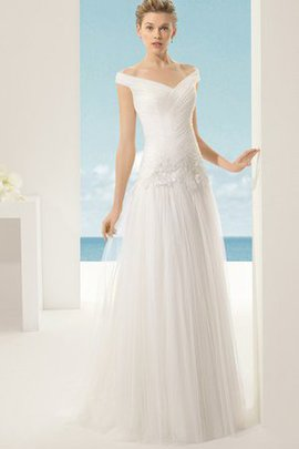 Thin Tulle Short Sleeves Dropped Waist Off The Shoulder Wedding Dress