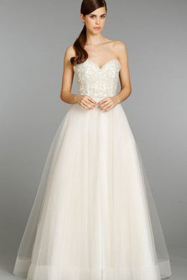 Sleeveless Embroidery Tulle Beading Natural Waist Wedding Dress