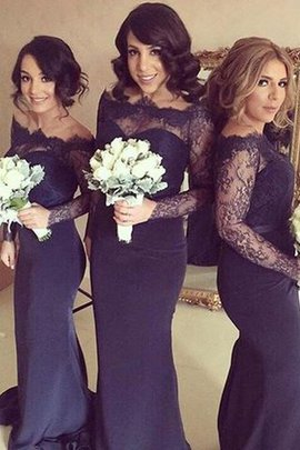 Long Sleeves Sweep Train Natural Waist Off The Shoulder Satin Bridesmaid Dress