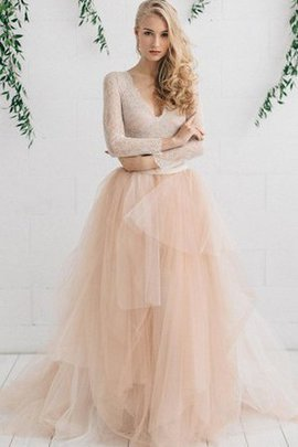 Sweep Train Asymmetrical Tiered Long Sleeves V-Neck Wedding Dress
