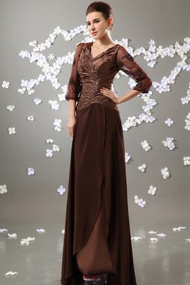 Floor Length V-Neck Ruched Chiffon 3/4 Length Sleeves Evening Dress