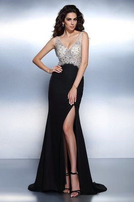 Chiffon Backless Sleeveless Mermaid Beading Prom Dress