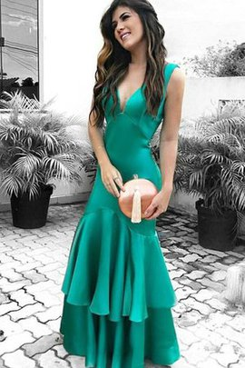 Satin Distinctive Sleeveless Ruffles V-Neck Floor Length Sheath Prom Dress