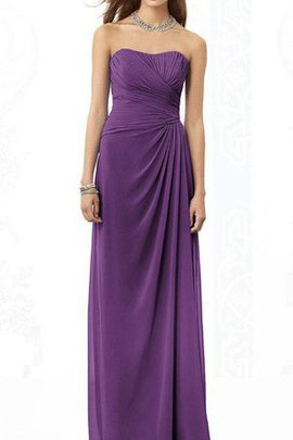 Chiffon A-Line Strapless Floor Length Ruched Bridesmaid Dress