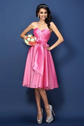 Sweetheart Accented Bow Princess Taffeta Natural Waist Bridesmaid Dress