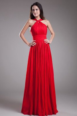 Ruched A-Line Floor Length Halter Zipper Up Evening Dress