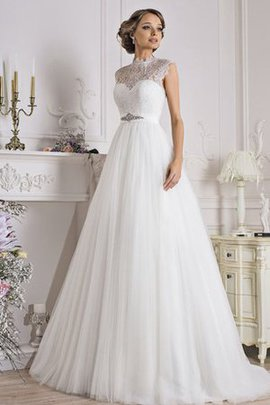 Floor Length Simple Sleeveless Court Train Lace Wedding Dress