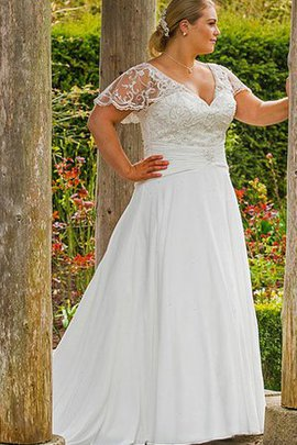 Short Sleeves Floor Length A-Line Court Train Lace-up Wedding Dress