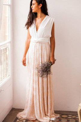 Sweep Train Sleeveless Pleated Lace Fabric V-Neck Bridesmaid Dress