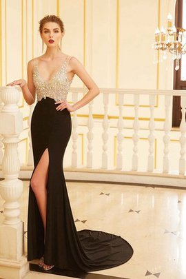 Natural Waist Sheath Sweep Train Beading V-Neck Evening Dress