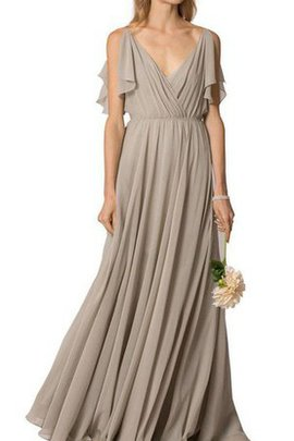 Ruched Floor Length A-Line Chiffon V-Neck Bridesmaid Dress