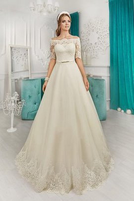 Natural Waist Lace Fabric A-Line Court Train Floor Length Wedding Dress