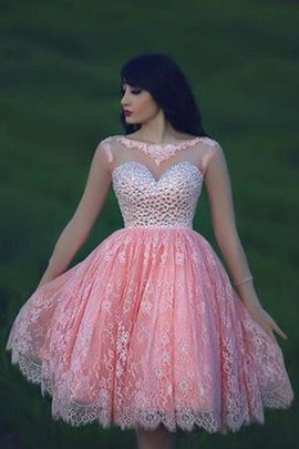 Beading Lace Capped Sleeves Bateau Sequined Homecoming Dress