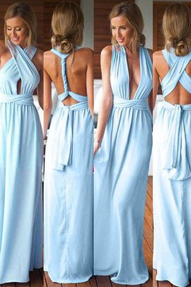 Chiffon A-Line Natural Waist Sleeveless Bridesmaid Dress