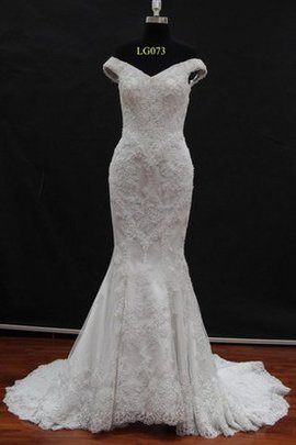 Court Train Sleeveless Mermaid Lace-up Lace Fabric Wedding Dress