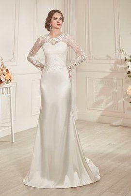 Satin Beach Lace-up Appliques Sheath Wedding Dress