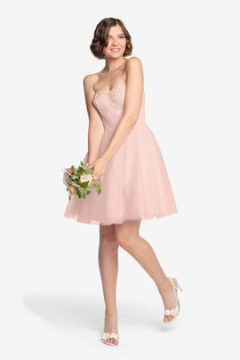 Lace Short Tulle Elegant A-Line Bridesmaid Dress