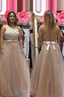 Sleeveless Floor Length Plus Size Beading A-Line Prom Dress
