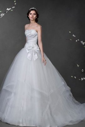 Lace-up Strapless Floor Length Court Train Draped Wedding Dress